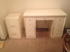 Painted file cabinet and desk