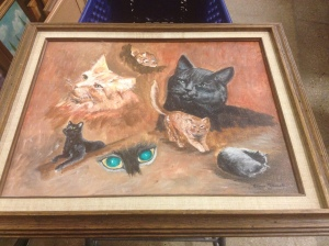 Cat painting with creepy eyes