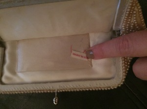 Inside of beaded purse