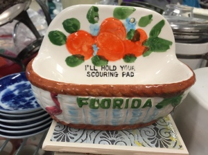 Orange scouring pad holder