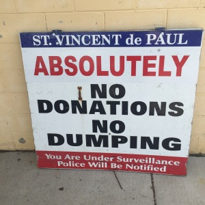 st vinnie's no dumping sign