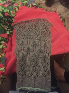 My beginning lace knit scarf.